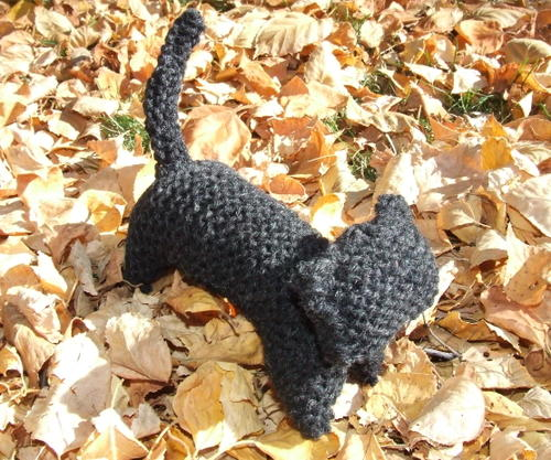 Finished Knitting Knitted Black Cat