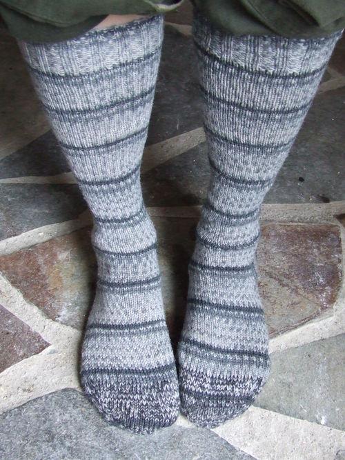 First Faux Fair-Isle Striping Socks